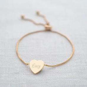 Iona Personalised Heart Slider Bracelet