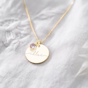 Large Esme Initial Birthstone Personalised Necklace