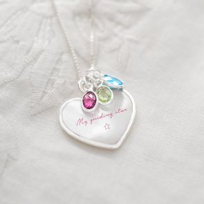 Mother Of Pearl Family Heart Personalised Necklace