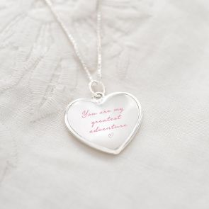 Mother Of Pearl Heart Personalised Message Necklace