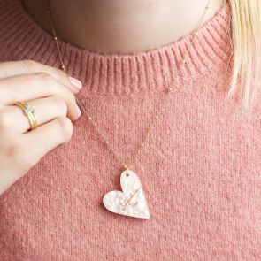 Personalised Mother Of Pearl Heart Necklace