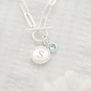 Mother Of Pearl Initial Birthstone Statement Necklace
