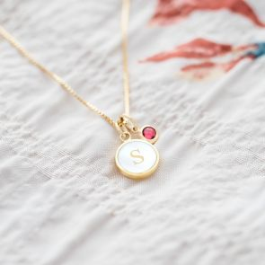 Mother Of Pearl Initial Personalised Necklace