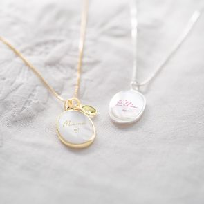 Mother Of Pearl Oval Personalised Name Necklace