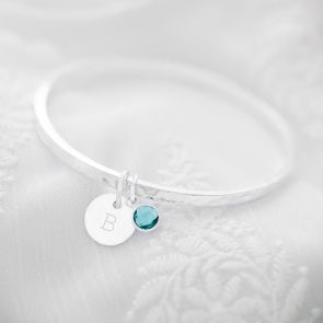 Natalie Initial and Birthstone Personalised Bangle
