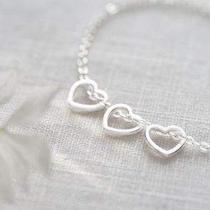 Open Heart Charm Personalised Bracelet