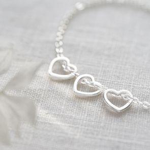 Open Heart Charm Personalised Bracelet