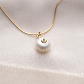 Organic Freshwater Pearl And Birthstone Necklace