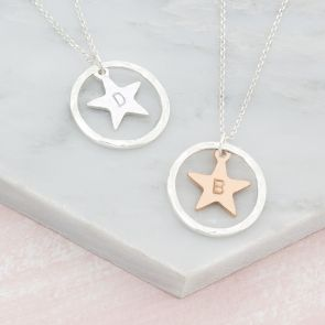 Personalised Hammered Halo And Handstamped Star Necklace