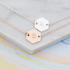 Talia Personalised Hammered Hexagon Bracelet