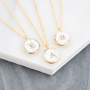 Personalised Marble Initial Disc Necklace