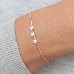 Personalised Silver Triple Star Silk Wish Bracelet