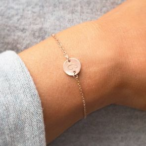 Sterling Silver Initial Disc Personalised Friendship Bracelet