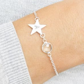 Personalised Initial Star Birthstone Bracelet
