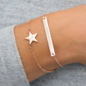 Skinny Star & Bar Personalised Bracelet Set