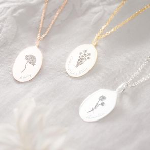 Oval Sia Sterling Silver Birth Flower Personalised Necklace