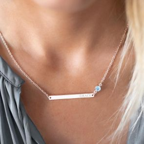 Birthstone And Bar Personalised Name Necklace