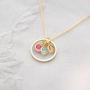 Bridesmaid Halo And Birthstone Personalised Necklace