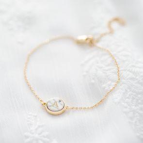 Personalised Initial Marble Disc Bracelet