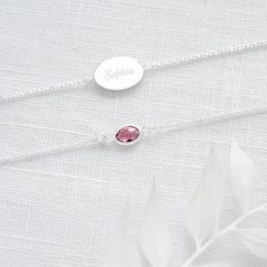 Personalised Oval Birthstone Friendship Bracelet Set