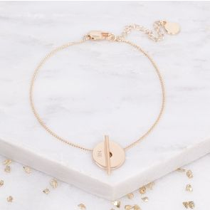 Martha Personalised Disc And Bar Bridesmaid Bracelet