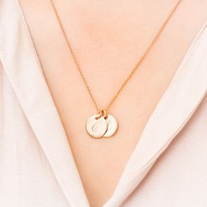Sterling Silver Initial Disc Personalised Name Necklace