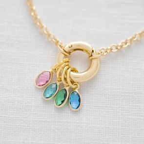 Runa Family Oval Birthstone Personalised Necklace