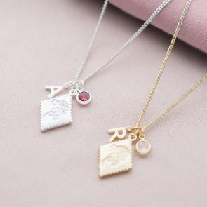 Scalloped Edge Charm Initial Birthstone Personalised Necklace