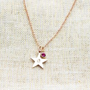Star and Micro Birthstone Personalised Necklace