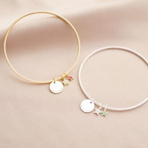 Star Birthstone and Disc Personalised Bangle