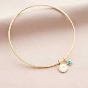 Star Edge Disc and Star Birthstone Personalised Initial Bangle