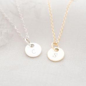 Sterling Silver Daughter Disc Personalised Initial Necklace