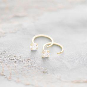 Sterling Silver Crystal Personalised Hoop Earrings