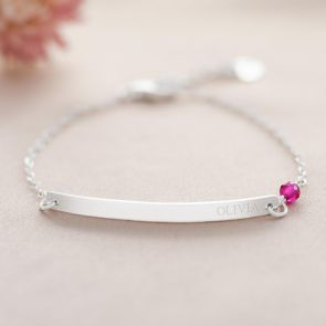 Sterling Silver Birthstone and Bar Personalised Bracelet
