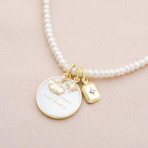 Sterling Silver Charm Personalised Pearl Necklace