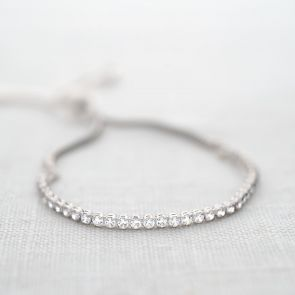 Sterling Silver Crystal Personalised Slider Bracelet