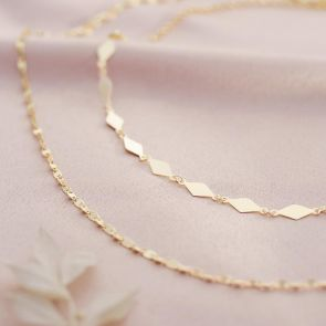 Sterling Silver Diamond Chain Personalised Statement Layer Necklace