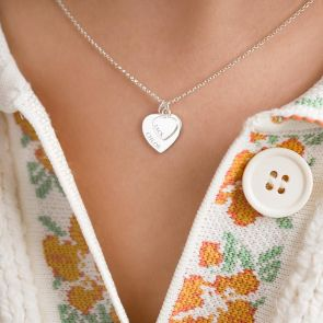 Sterling Silver Double Heart Charm Personalised Necklace