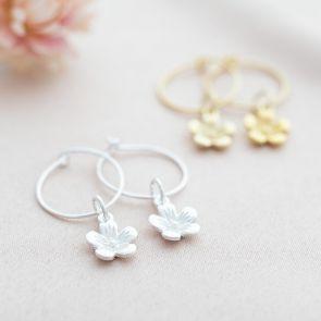 Sterling Silver Flower Charm Personalised Hoop Earrings