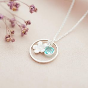 Sterling Silver Halo Flower and Birthstone Charm Necklace
