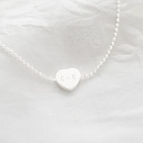 Sterling Silver Heart Charm Initial Personalised Bracelet