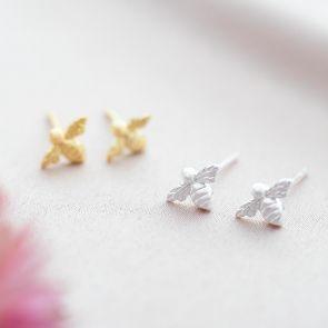 Sterling Silver Honey Bee Personalised Earrings