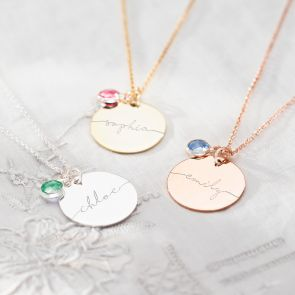 Sterling Silver Large Esme Birthstone Name Necklace