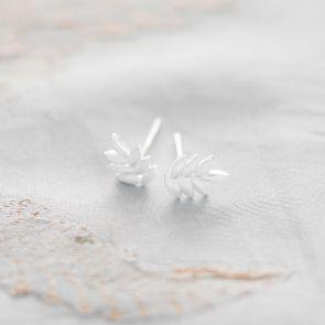 Sterling Silver Leaf Stud Personalised Earrings