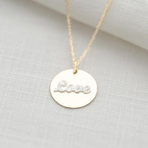 Sterling Silver Love Disc Personalised Necklace