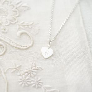 Sterling Silver Micro Sia Heart Personalised Necklace