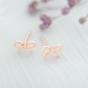 Sterling Silver Mini Bow Personalised Stud Earrings