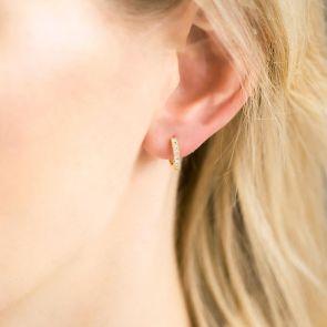 Sterling Silver Moonstone Huggie Hoop Earrings