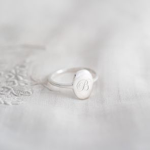 Sterling Silver Personalised Initial Oval Ring