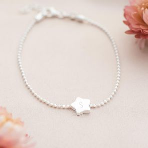 Sterling Silver Star Charm Initial Personalised Bracelet